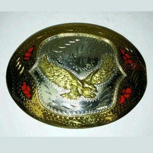 Eagle Belt Buckle Stone Inlay Vintage Western